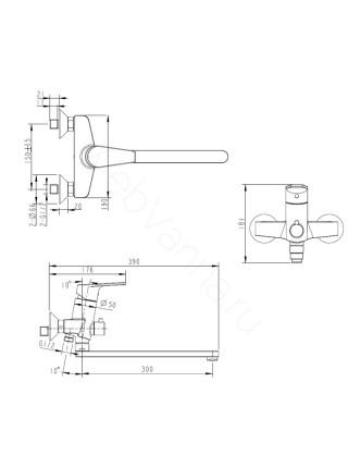 Смеситель для ванны Bravat Line F65299C-1L, с длинным изливом