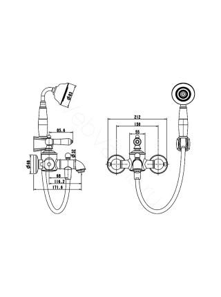 Смеситель для ванны Bravat Art F675109U-B