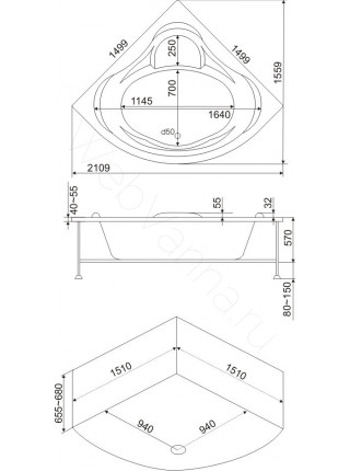 Акриловая ванна Bas Модена 150х150
