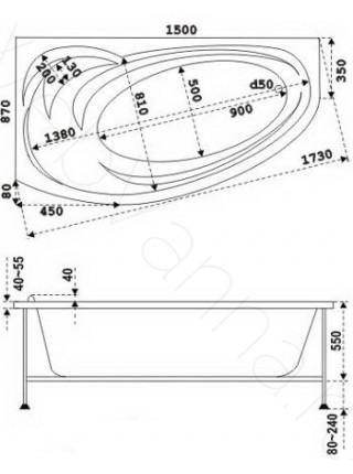 Акриловая ванна Bas Фэнтази 150х87 R