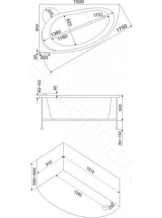 Акриловая ванна Bas Вектра 150х90 L