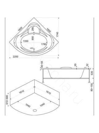 Акриловая ванна Bas Мега 160х160