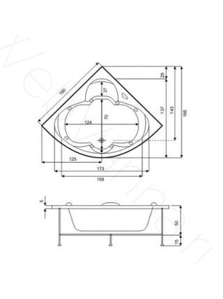 Акриловая ванна Bas Дрова 160х160