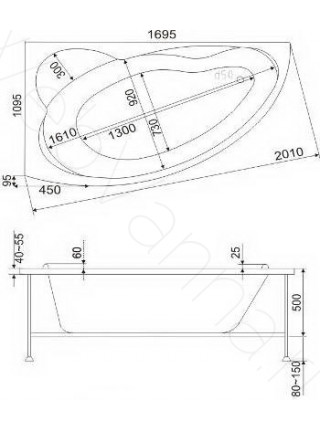 Акриловая ванна Bas Лагуна 170х110 L