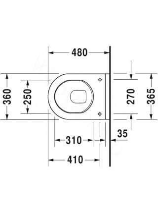 Унитаз подвесной Duravit Starck3 220209 укороченный