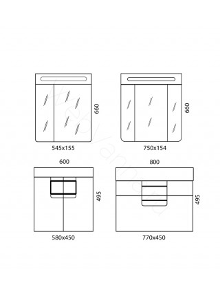 Зеркальный шкаф Edelform Гласс 60 см, белый, с подсветкой