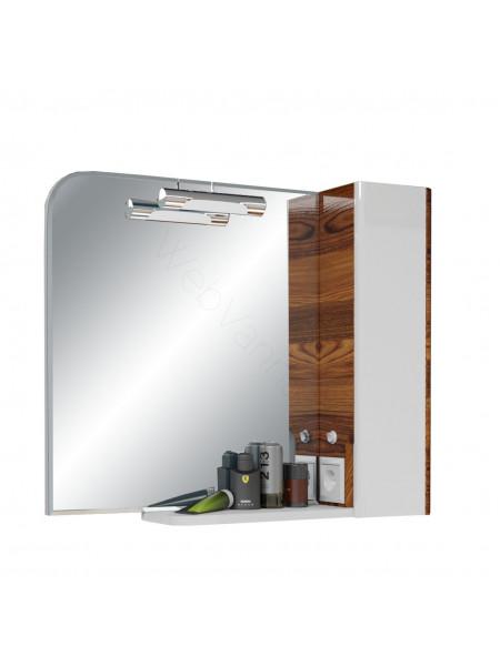Зеркальный шкаф Edelform Иннато 80 см, орех/белый, с подсветкой
