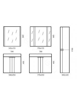 Зеркальный шкаф Edelform Фреш 60 см, антрацит, с подсветкой