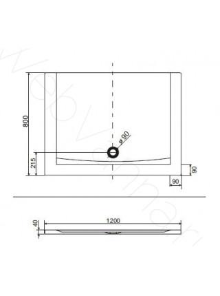 Душевой поддон Excellent Forma 120x80