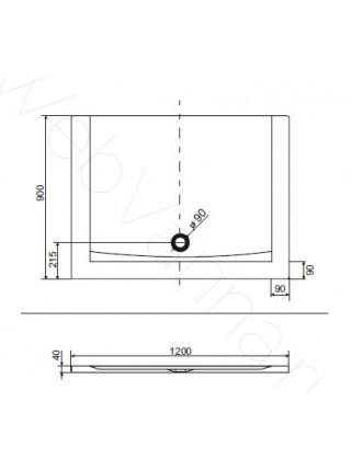 Душевой поддон Excellent Forma 120x90