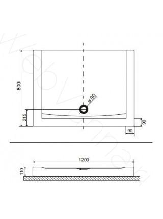 Душевой поддон Excellent Forma Compact 120x80