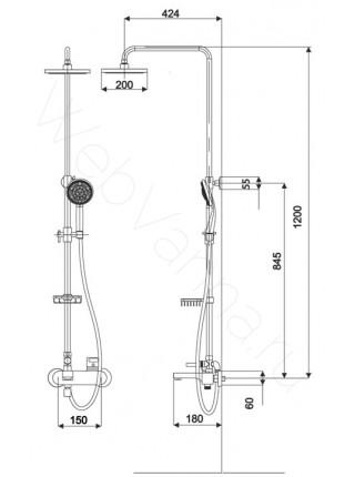 Душевая стойка Excellent Active Rain ARAC.1082CR-N , хром, с изливом