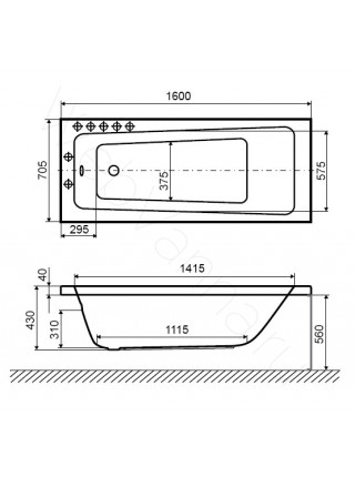 Акриловая ванна Excellent Ava 160х70