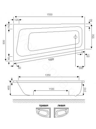 Акриловая ванна Excellent Ava Comfort 150х80 L
