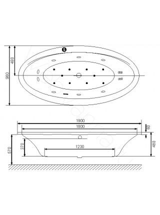 Акриловая ванна Excellent Lumina 190х96