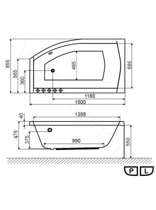 Акриловая ванна Excellent Magnus 150х85 L