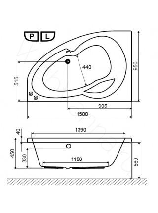 Акриловая ванна Excellent Newa 150х95 L
