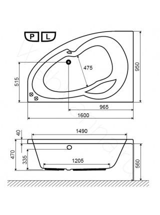 Акриловая ванна Excellent Newa 160х95 L