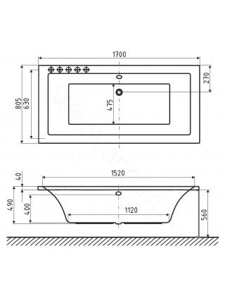 Акриловая ванна Excellent Pryzmat Lux 170х80