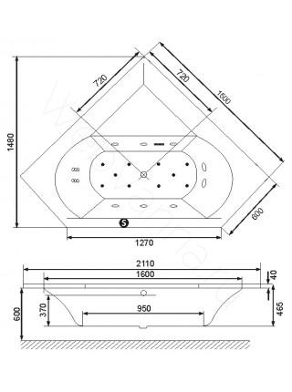 Акриловая ванна Excellent Supreme 150х150
