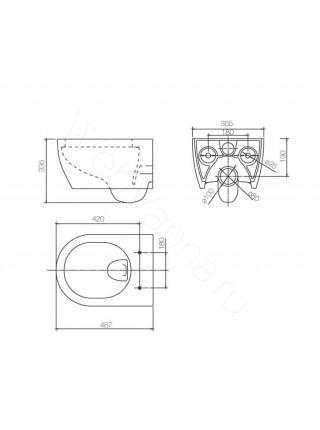Унитаз подвесной Ssww CT2037V (NC4411) black укороченный