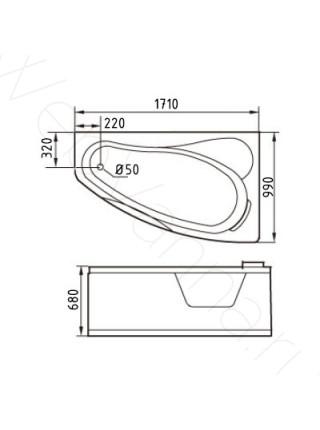 Акриловая ванна Gemy G9046 II K R 171х99
