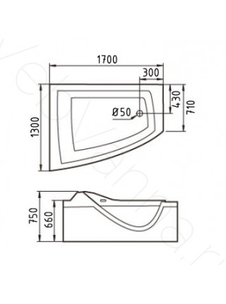 Акриловая ванна Gemy G9056 K L 170х130