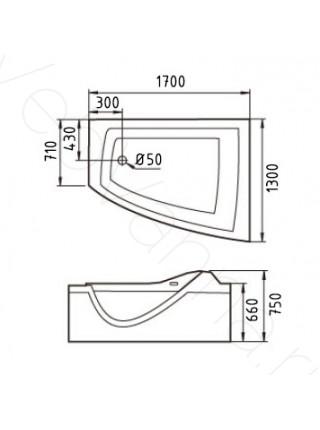 Акриловая ванна Gemy G9056 K R 170х130