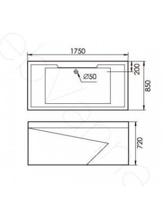Акриловая ванна Gemy G9065 B R 175х85
