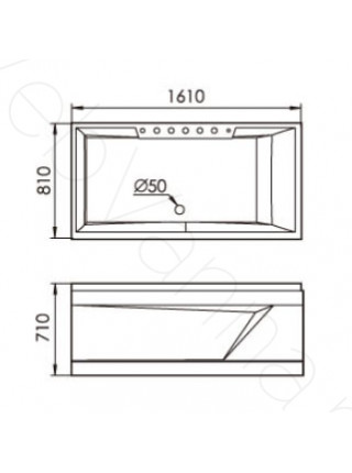 Акриловая ванна Gemy G9075 K R 161х81