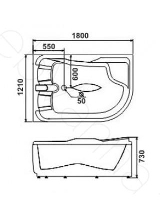 Акриловая ванна Gemy G9083 K L 180х122