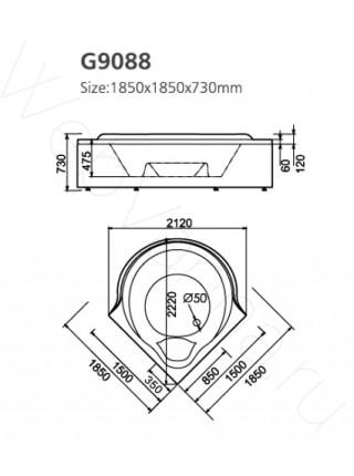 Акриловая ванна Gemy G9088 K 185х185