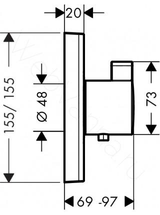 Смеситель встраиваемый Hansgrohe ShowerSelect Highflow, СМ 15760000 термостат