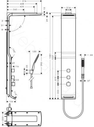 Душевая панель Hansgrohe Raindance Lift 27008400