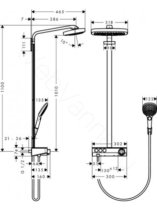 Душевая стойка Hansgrohe Raindance Select E 300 3jet Showerpipe 27127400, хром, термостат