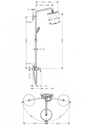 Душевая стойка Hansgrohe Croma 220 Showerpipe 27222000, хром