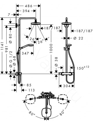 Душевая стойка Hansgrohe Croma Select E 180 2jet Showerpipe 27256400, хром, термостат