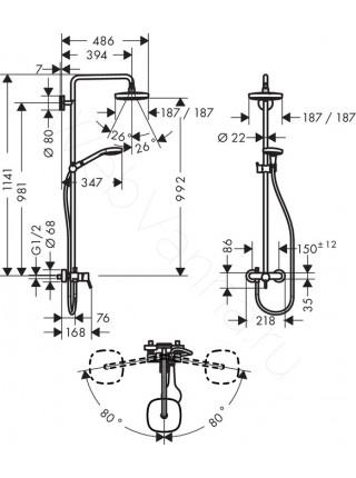 Душевая стойка Hansgrohe Croma Select E 180 2jet Showerpipe 27258400, хром