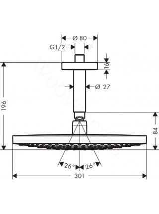 Верхний душ Hansgrohe Raindance Select S 300 2jet, 27337000, с потолочным соединением