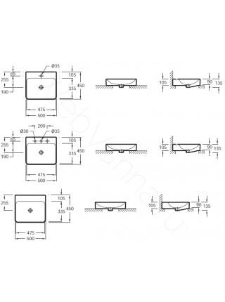 Раковина на столешницу Jacob Delafon 500мм VOX EVE012-00