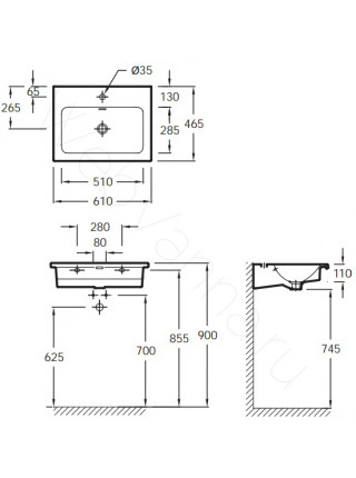 Раковина-столешница Jacob Delafon 600мм VOX мебельная EXAF112-Z-00