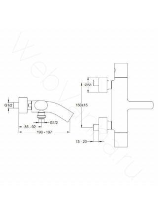 Смеситель для ванны и душа термостат Jacob Delafon Talan E10089RU-CP