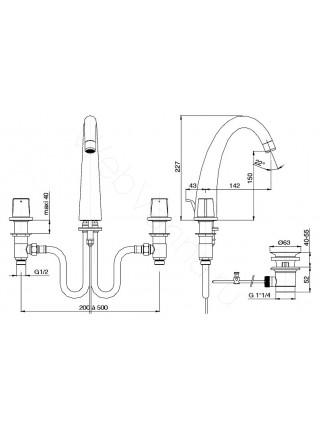 Смеситель для раковины Jacob Delafon Elevation E18871-CP, 3 отверстия