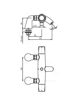 Смеситель на борт ванны Jacob Delafon Elevation E18875-CP, 2 отверстия