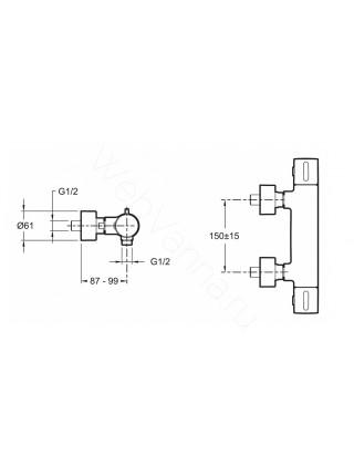Смеситель для душа термостат Jacob Delafon Cuff E37035-CP