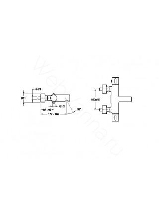 Смеситель для ванны и душа термостат Jacob Delafon Cuff E37037-CP