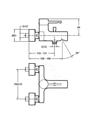Смеситель для ванны и душа Jacob Delafon Cuff E45532-CP