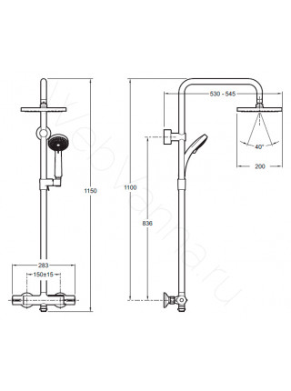 Душевая стойка Jacob Delafon July E5523-CP, хром, термостат