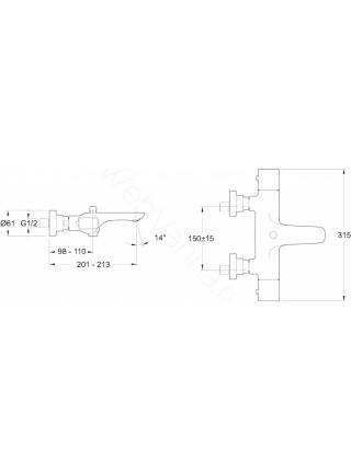 Смеситель для ванны Jacob Delafon Aleo термостат E72286-CP