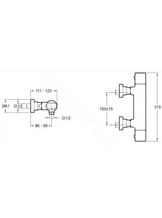 Смеситель для душа Jacob Delafon Aleo E72352-CP термостат